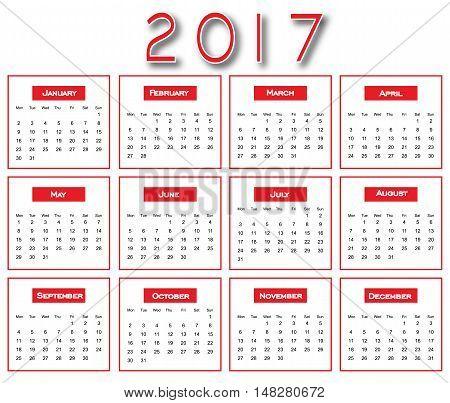 Red Simple 2017 Calendar - Calendar 2017 Design - Calendar 2017 New Year