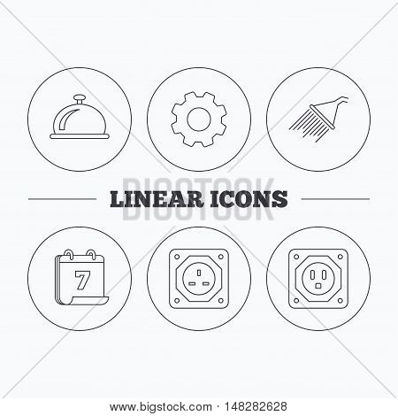 Shower, UK socket and USA socket icons. Reception bell linear sign. Flat cogwheel and calendar symbols. Linear icons in circle buttons. Vector