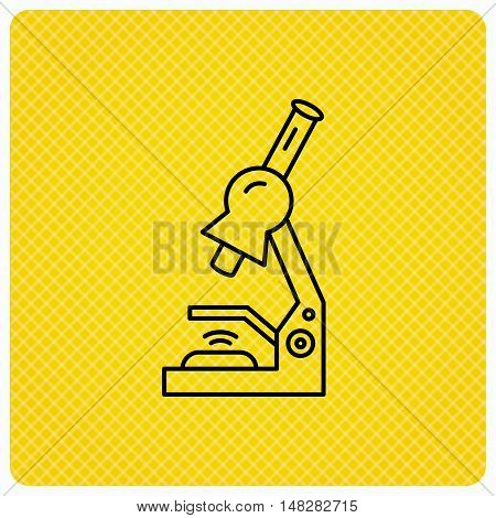 Microscope icon. Medical laboratory equipment sign. Pathology or scientific symbol. Linear icon on orange background. Vector