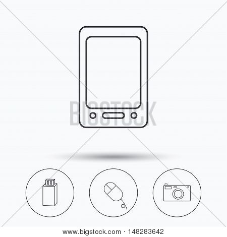 Tablet PC, USB flash and photo camera icons.PC mouse linear sign. Linear icons in circle buttons. Flat web symbols. Vector