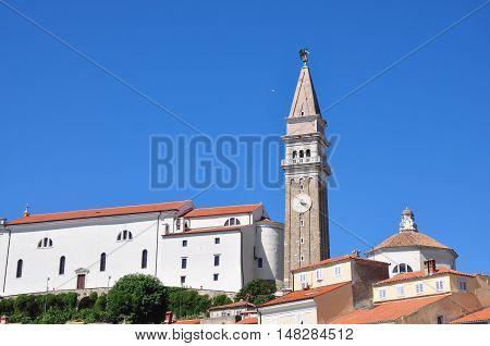 Piran city tower and church, Istria, Slovenia.