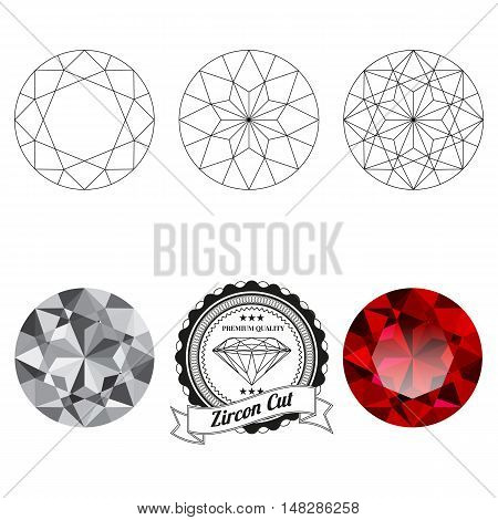 Set of zircon cut jewel views isolated on white background - top view bottom view realistic ruby realistic diamond and badge. Can be used as part of logo icon web decor or other design.