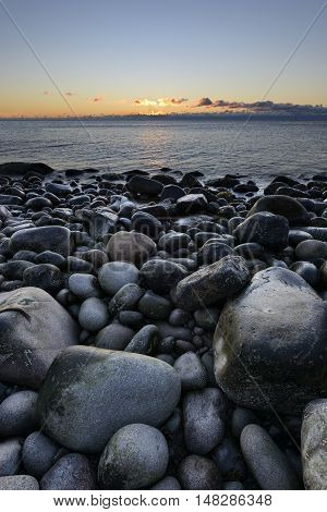 Dawn at Boulder Beach in Maine - Acadia National Park
