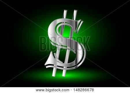 Illustration of dollar symbol ,dollar symbol,dollar symbol on a green background
