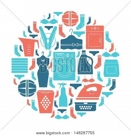 Unique vector concept with the various elements of laundry. Washing machine iron dress. Clean and easy to edit. Unique illustration for t-shirts banners flyers and other types of business design.