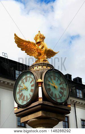 clock on the central train station of Stockholm Sweden