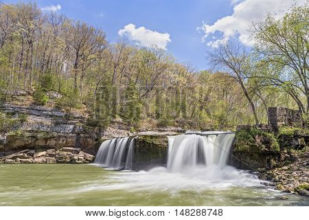 Spring comes to Upper Cataract Falls a waterfall in Owen County Indiana.