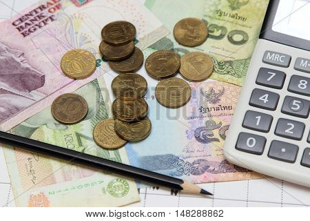 calculator pencil coins and banknotes. Dow Jones index. currency rates on Forex