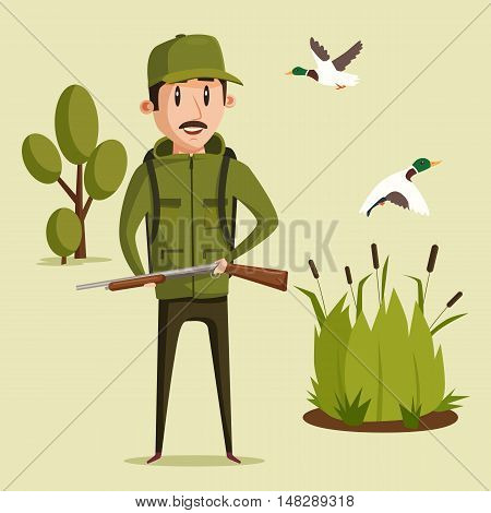 Hunting sport illustration. Hunter with rifle and flying ducks over reeds and trees. Shooter in jacket and hat. Great for outdoor hobby and book illustration, target aiming recreation and leisure poster
