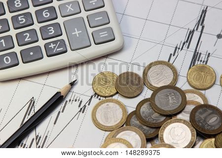 calculator pencil andcoins. Dow Jones index. currency rates on Forex