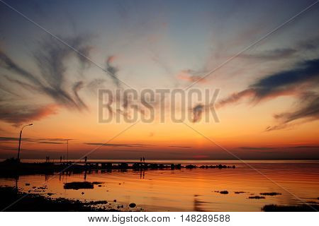 Beautiful sunset above sea. Amazing sunset Awesome sunset. Summer sunset. Landscape sunset. Beautiful sunset. Travel sunset