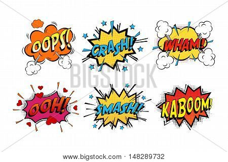 Onomatopoeia comics sounds in clouds for emotions and kaboom explosion. Steaming oops and wham sound, heart for ooh and stars for smash and crash cartoon book theme