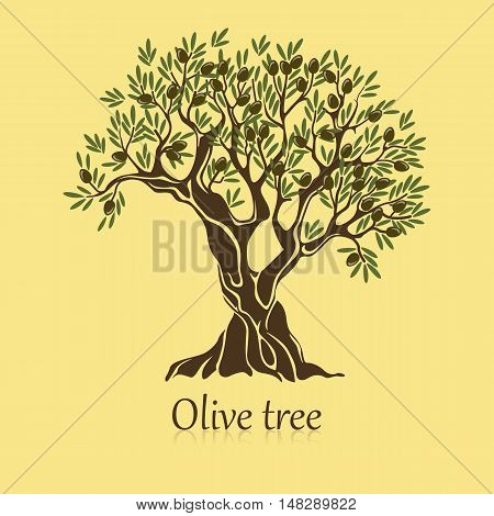 Olive tree with branches and berries logotype or banner. Viscous oil mediterranean plant badge. Good for ancient greek label and smear liquid emblem, natural vegetarian shop sign