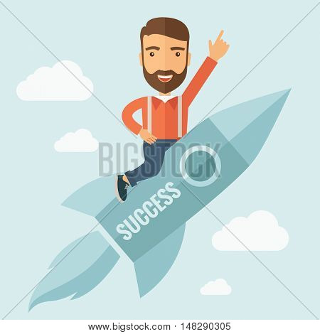 The man with a beard flying on the rocket raising his hand in the air. Success concept.  flat design Illustration.