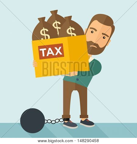 A Caucasian businessman locked in a debt ball in chain for commiting crime in tax ivasion. Debt concept. A Contemporary style with pastel palette, soft blue tinted background. flat design illustration