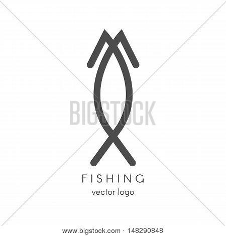 Fishing spearfishing vector logo design template. Fishing Hook. Sport icons.