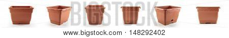 Empty flowerpot. Shot from various angles on a white background isolated brown.