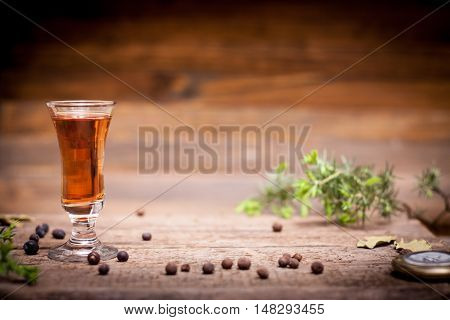 delicious tincture alcohol on a wooden table