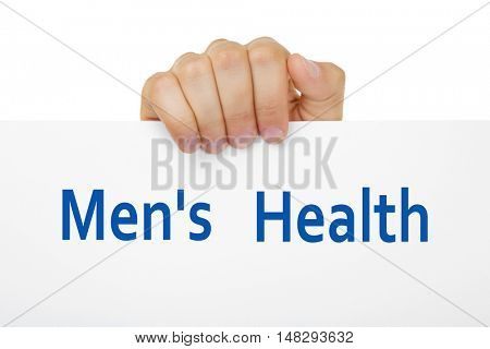 Male hand holding paper close up. Urology concept