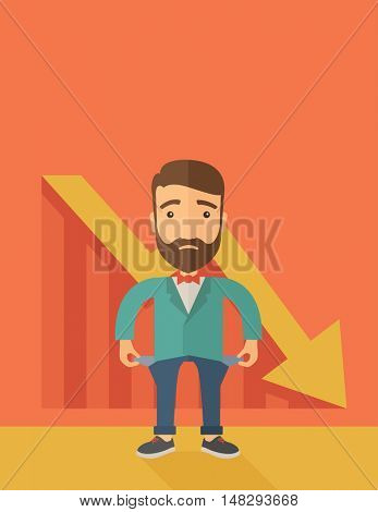 Unhappy, sad Caucasian hipster businessman with beard wearing a red bow tie standing with empty pockets. An arrow pointing downward showing that he is a failure. Loser, broke concept. A contemporary