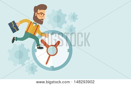 Career man with his bag chasing running clock pursuing a deadline of his report. Time management concept. A contemporary style with pastel palette, soft blue tinted background. flat design