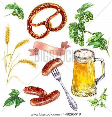 Hand drawn food and drink illustration. Watercolor glass of light beer pretzel with salt fried sausages hop branches banner and barley ears isolated on white. Oktoberfest holiday set elements.