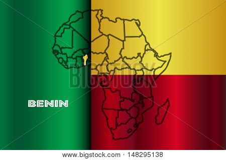 Benin outline inset into a map of Africa over a flag background
