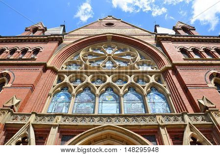 Tower of Memorial Hall in Harvard University, Cambridge, Massachusetts, USA