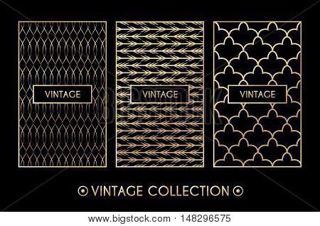 Golden vintage pattern on black background. Vector illustration for retro design. Gold abstract frame. Label set. Elegant luxury foil Tribal ethnic