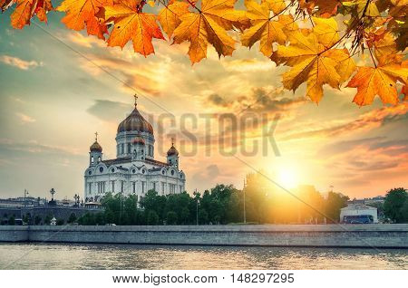 Moscow autumn view. Moscow landscape - Cathedral of Christ the Saviour in autumn sunset in Moscow Russia. Moscow sunset. Autumn view of Moscow architecture landmark. Moscow architecture view.