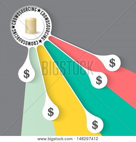Vector info graphic with theme of crowd funding