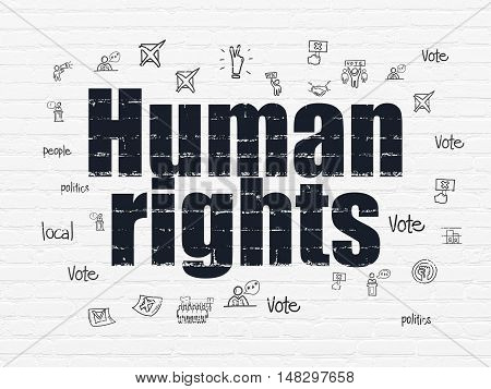 Politics concept: Painted black text Human Rights on White Brick wall background with  Hand Drawn Politics Icons