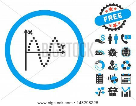 Sinusoid Plot pictograph with free bonus clip art. Glyph illustration style is flat iconic bicolor symbols, blue and gray colors, white background.