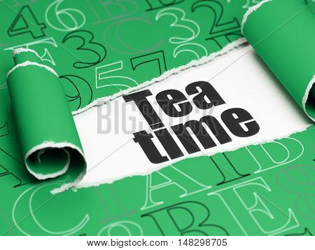 Time concept: black text Tea Time under the curled piece of Green torn paper with  Hexadecimal Code, 3D rendering