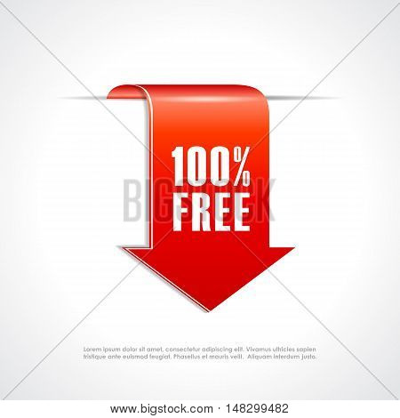 100 free ribbon tag vector illustration isolated on white background