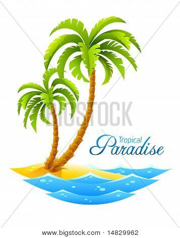 Tropical Palm On Island With Sea Waves