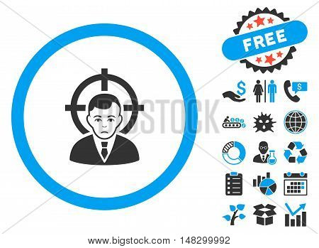 Target Person pictograph with free bonus symbols. Glyph illustration style is flat iconic bicolor symbols, blue and gray colors, white background.