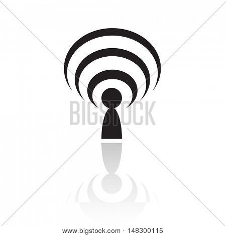 Black podcast isolated on white
