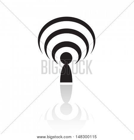 Black podcast isolated on white