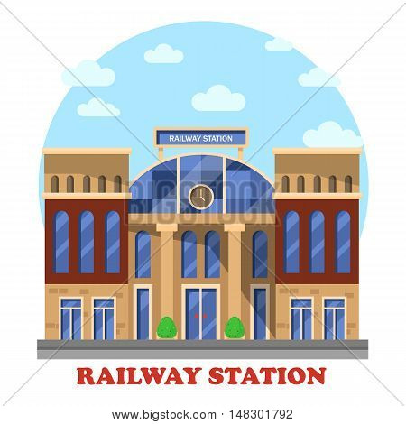 Train or railway, railroad station or depot with clocks. Intercity and city or town transit for freight or passenger, social architecture building or structure, outdoor exterior construction view