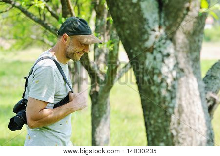 man outdoor in nature walking have relaxation and recreation