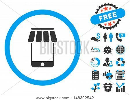 Webstore pictograph with free bonus symbols. Glyph illustration style is flat iconic bicolor symbols, blue and gray colors, white background.