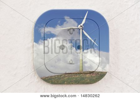 Conceptual: Wind Turbine over Power Outlet With Path