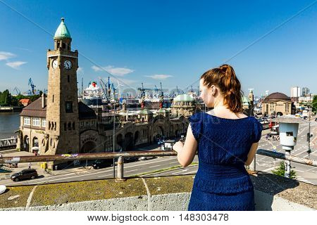 Young Lady In Front Of The St-pauli Landing Piers In Hamburg