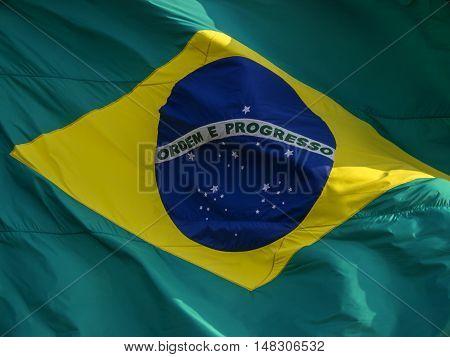 Brazil's flag patriotism wind flying fluttering swinging