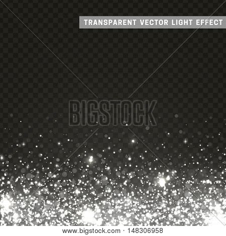 Transparent vector light effect silver, gray. Glitter particles, shining stars , space background. Bright design element, silver, luxury greeting card
