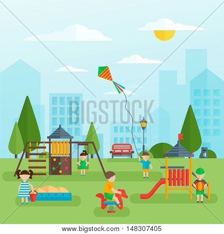 Playground with children flat design with green trees and grass slide and sandbox benches vector illustration
