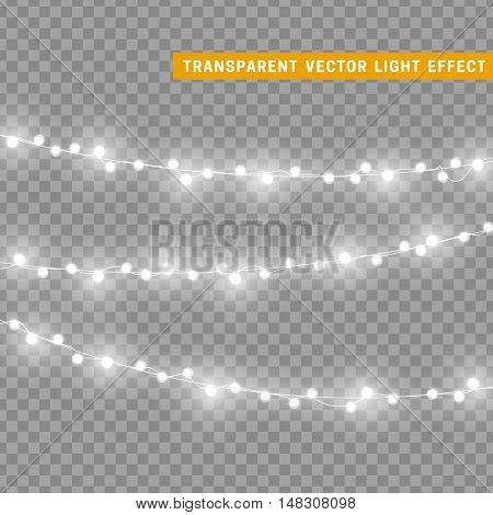 Christmas lights isolated realistic design elements. Glowing lights for Xmas Holiday greeting card design. Garlands, Christmas decorations.