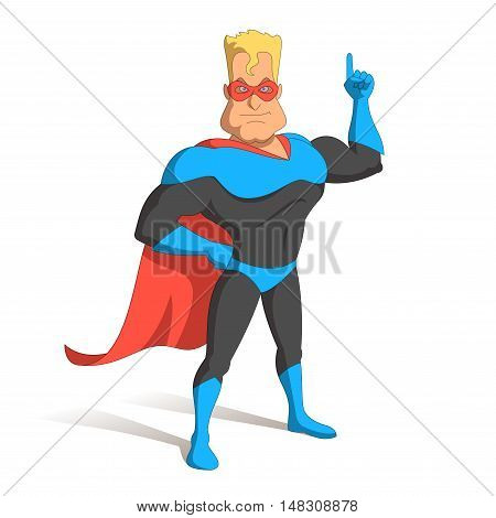 Superhero in the mask, the index finger up. Idea, law, attention, statement Illustration