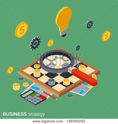 Business strategy, chess game, solution search, quest flat isometric vector concept illustration